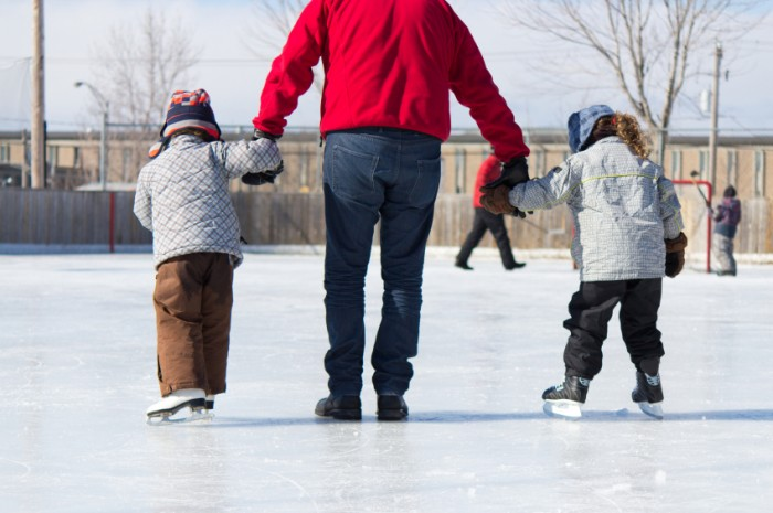 Family having fun at the skating rink